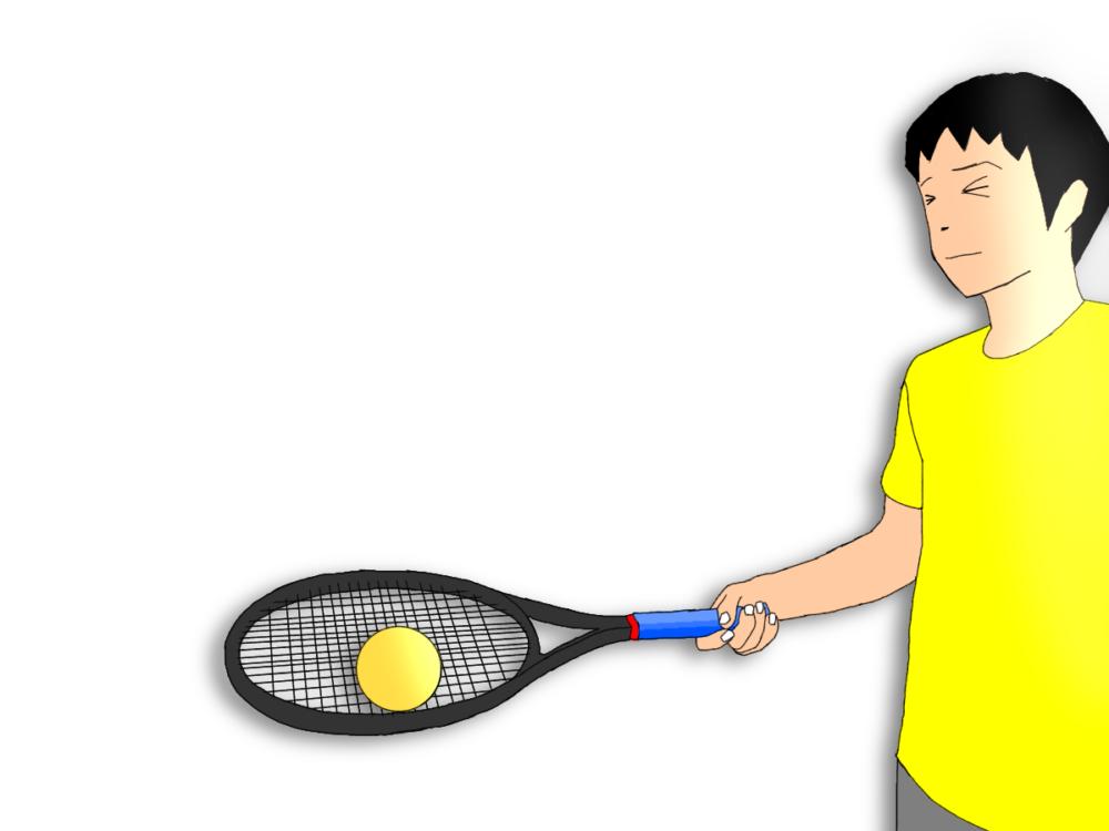 テニスのボールを転がすラケッティング