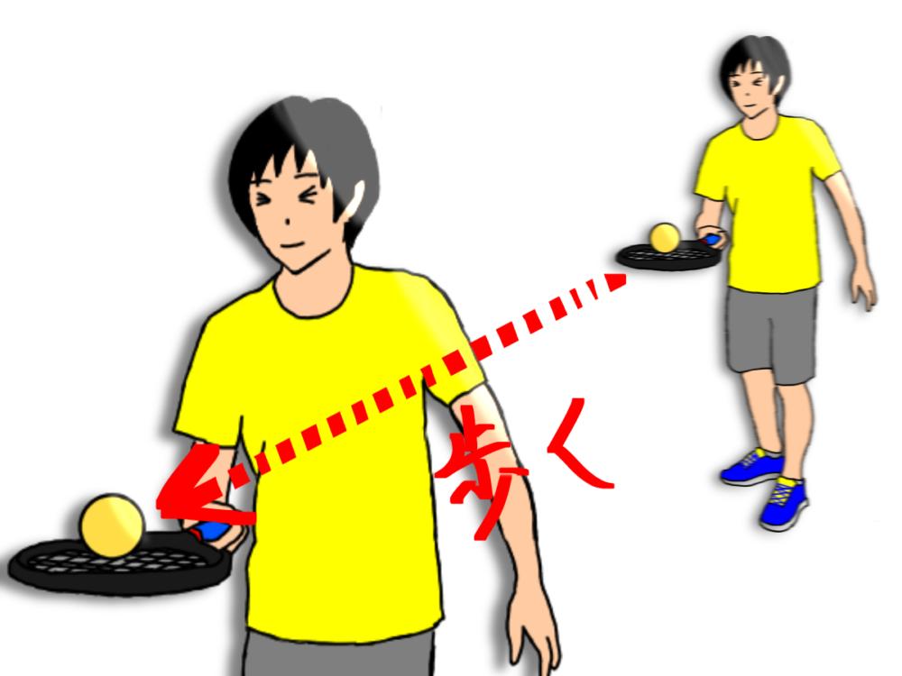 テニスでボールを乗せたまま歩くラケッティング