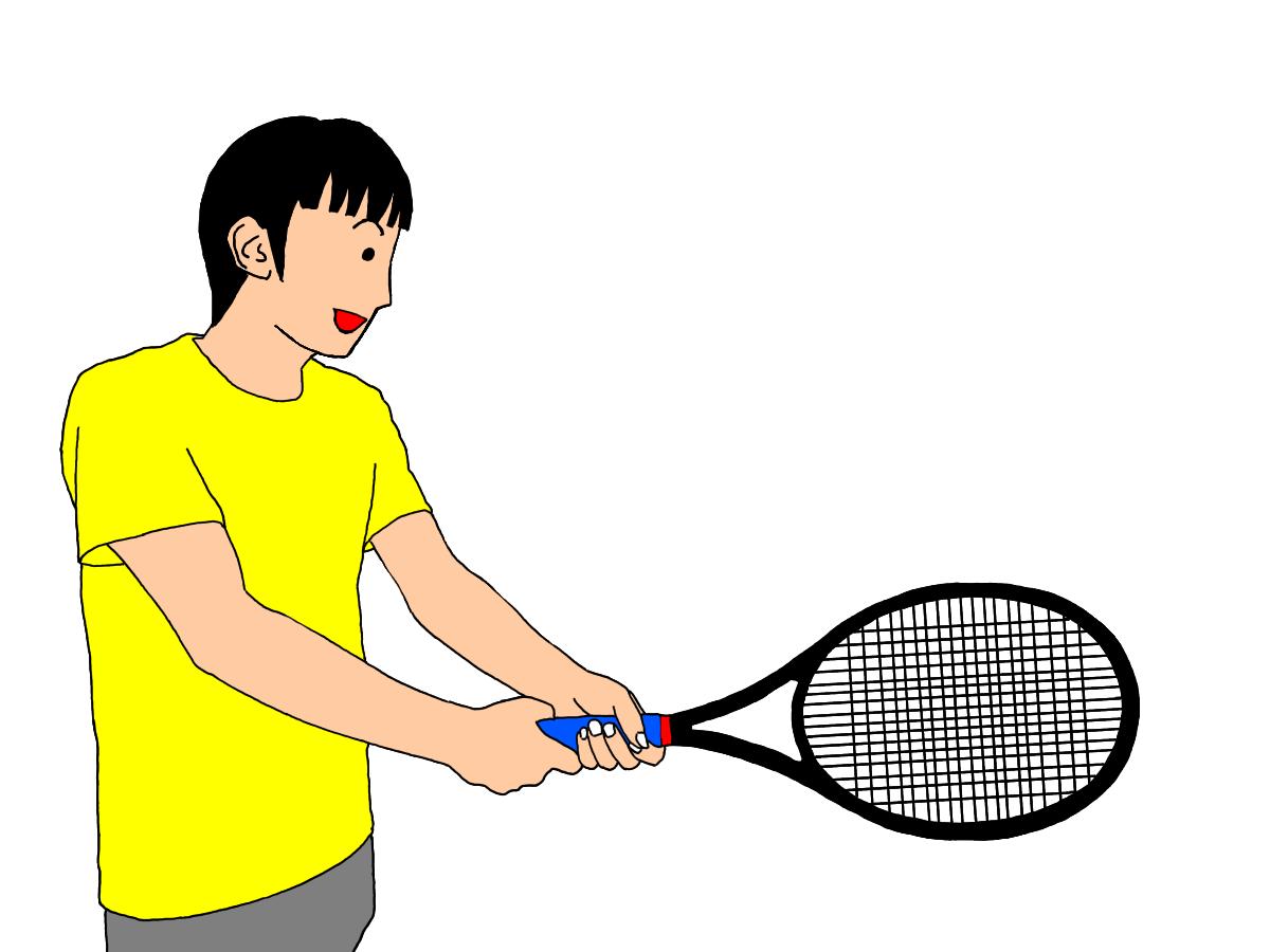 テニスの両手打ちバックハンドストロークの利き手がフォアハンドストロークのグリップの場合。