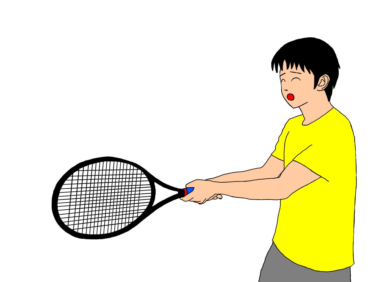 テニスの両手打ちバックハンドストロークの利き手がコンチネンタルグリップの場合。