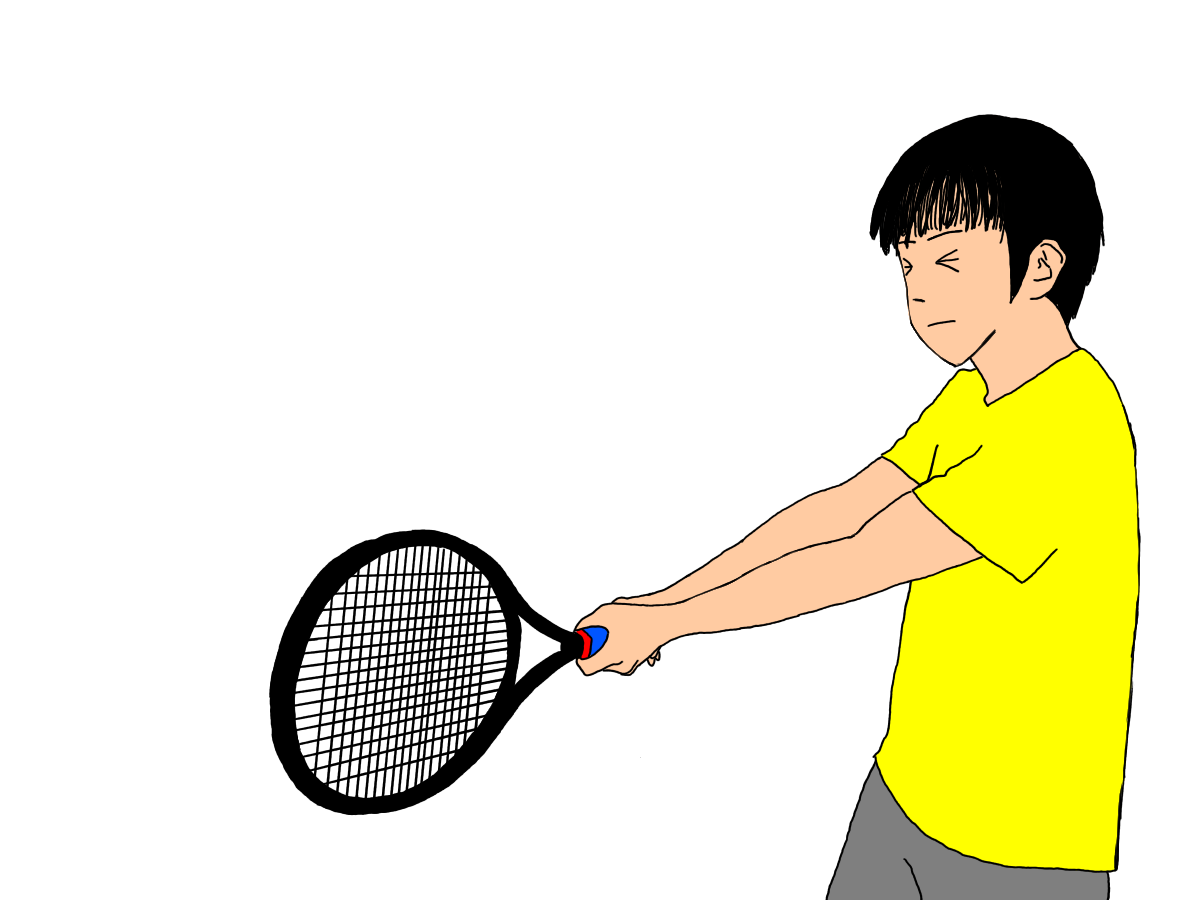 テニスの両手打ちバックハンドストロークの利き手がバックハンドよりのグリップの場合。