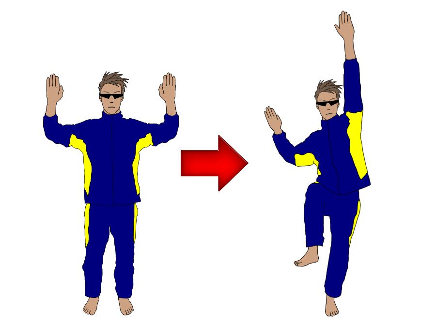 テニスのサーブのトロフィーポジション(トロフィーポーズ)の練習で、体側を伸ばす・縮める