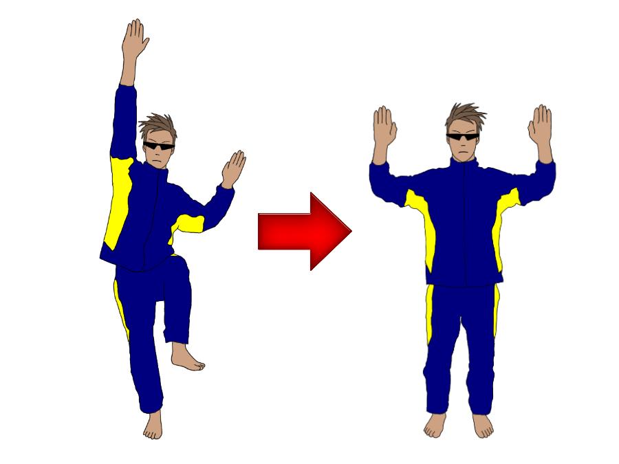 テニスのサーブのトロフィーポジション(トロフィーポーズ)の練習で、体側を戻す