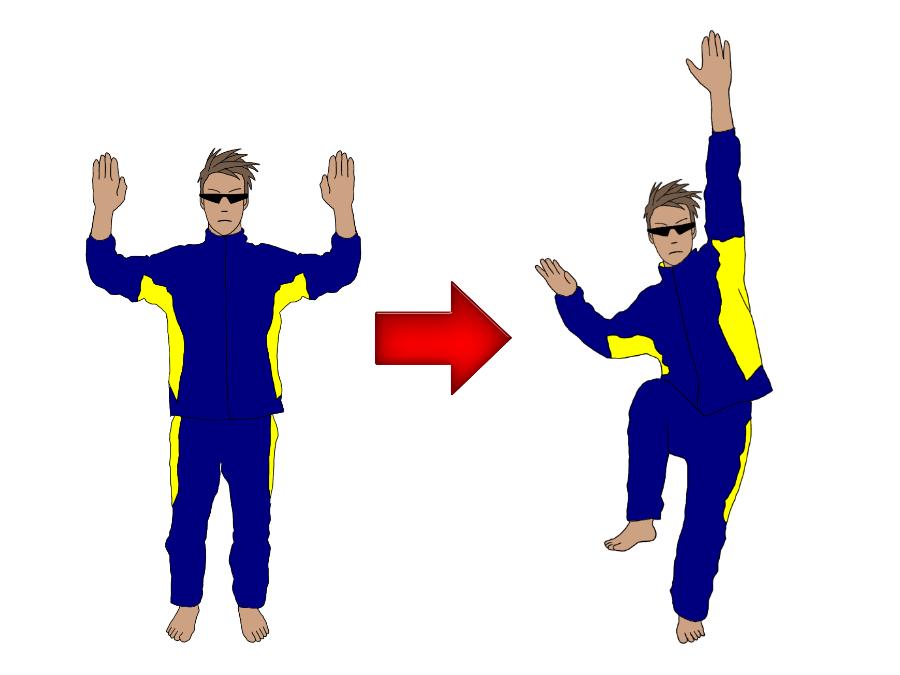 テニスのサーブのトロフィーポジション(トロフィーポーズ)の練習で、膝を曲げる