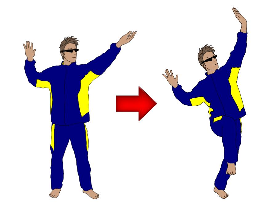 テニスのサーブのトロフィーポジション(トロフィーポーズ)の練習で、トスから片足のトロフィーポジションをとる