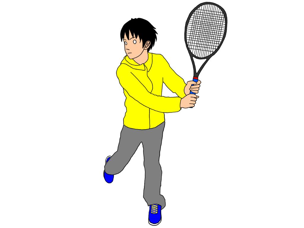 テニスの両手打ちバックハンドストロークで、軸足を引きながら身体をターン