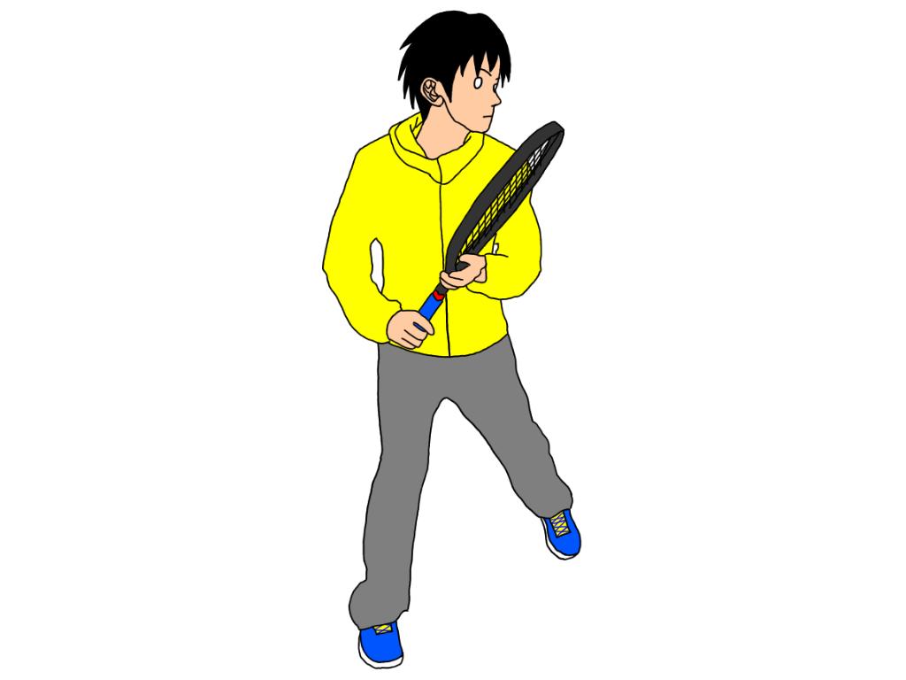 テニスのフォアハンドストロークで、軸足を引きながら身体をターン