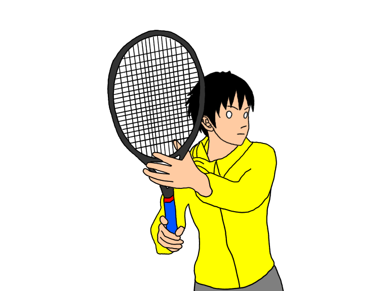 テニスのフォアハンドストロークで、両手でラケットを引き始める