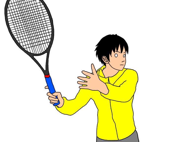 テニスのフォアハンドストロークで、左手をスロートから離してラケットを引く