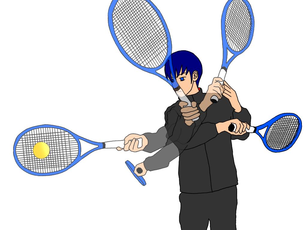テニスのアングルショット(ショートアングル)を、ワイパースイングで打つ