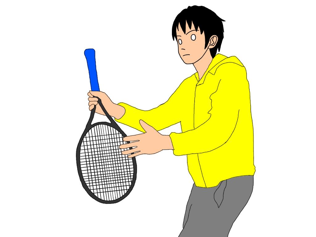 ラケットを振ってしまうときはグリップでテニスボールをボレーしてみる