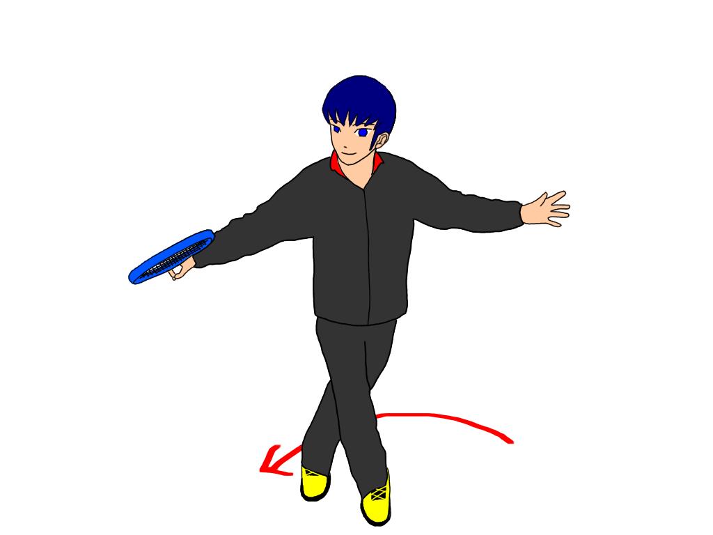 バックハンドスライスのアプローチショットでは両腕を同じように動かすだけではなく、キャリオカステップを使用すると腰の回転を抑えることができる