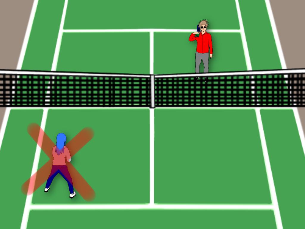 テニスの雁行陣でありがちな悪い例