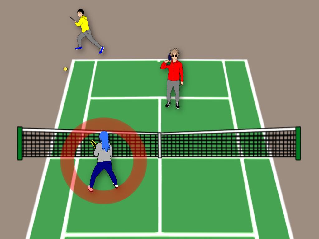 相手コートに角度のついたボールが入ったら前衛はどう動く?