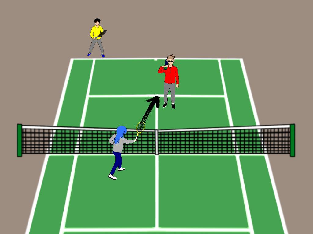 テニスの雁行陣の前衛はどうコースを打ち分ける?