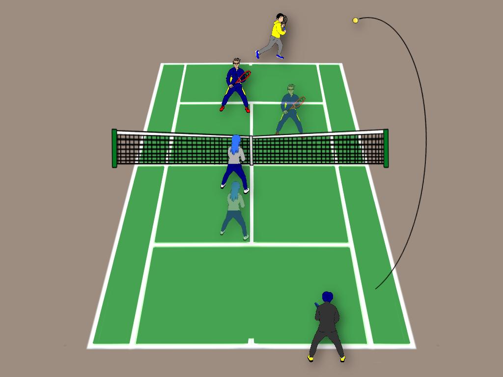 テニスの雁行陣で味方がストレートロブを上げたら前衛はどう動く?