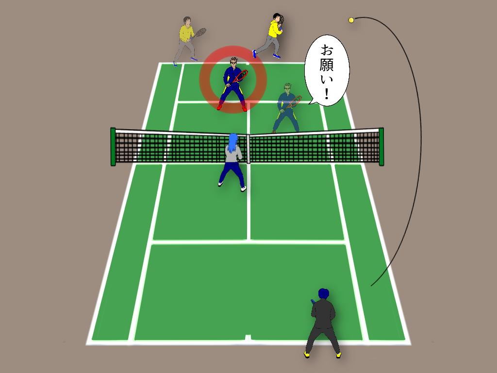 テニスの雁行陣で相手からストレートロブが上がったらどうする?