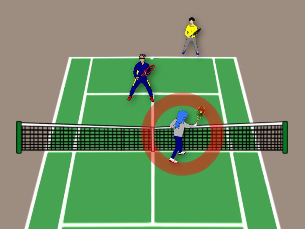 テニスのストレート雁行陣では前衛が積極的に参加すること