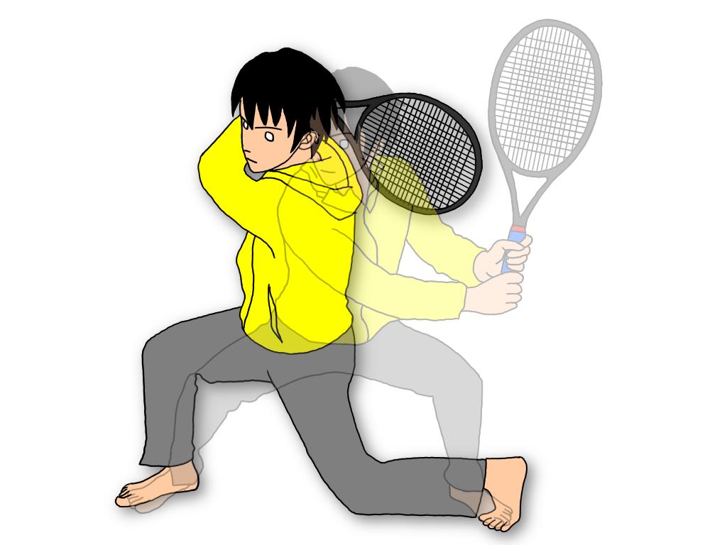 テニスのスイングスクワットのアレンジ