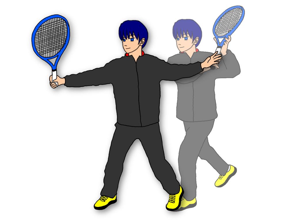 テニスのバックハンドボレーとスライスの空いている手の高さは?