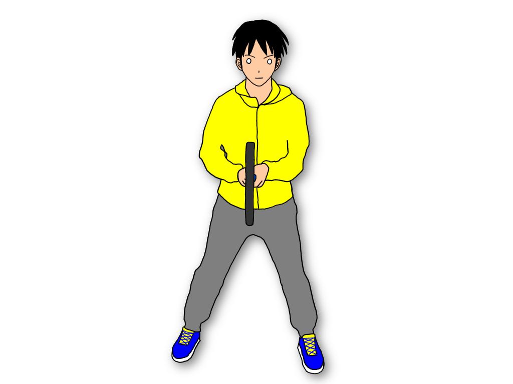 テニスのグランドストロークを打つとき、最初の構え(レディポジション)でのラケットの持ち方は2種類ある