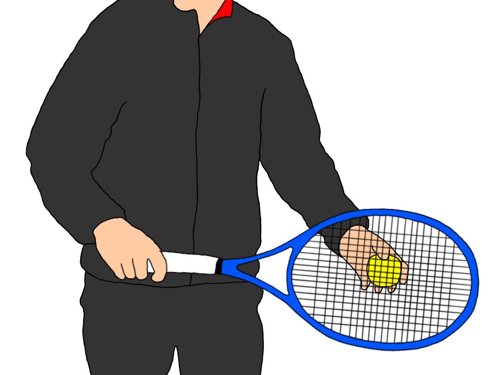 サーブの最初の構えはラケットのどこにテニスボールを添えるか