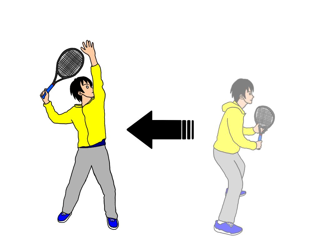 【スマッシュのドリル】テニスのスマッシュをサイドステップで下がりながら段階的に打ってみる