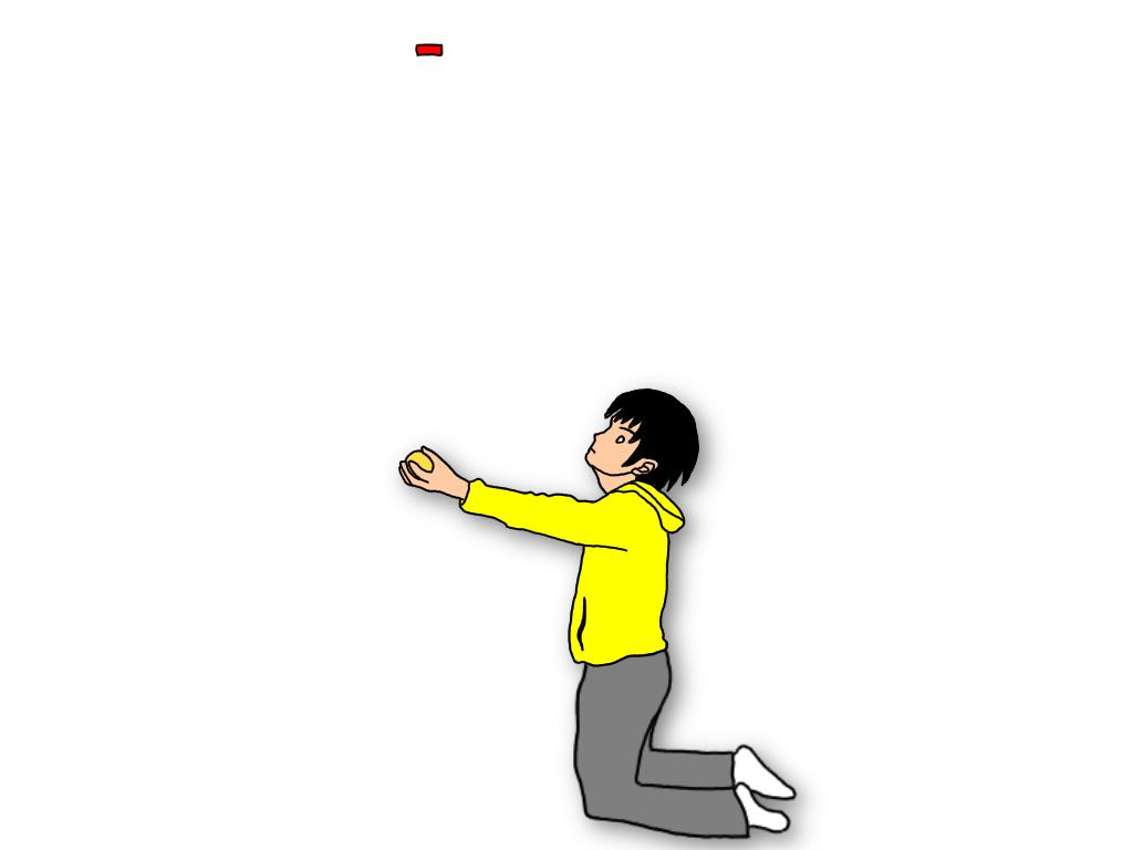 【自宅でできるテニスの練習】両膝をついてサーブのトスアップ練習