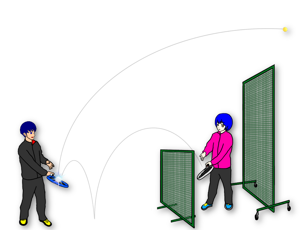 テニススクールのレッスンで使用する移動式の防球ネットは生徒さん同士の自主練のバリエーションを増やしてくれる