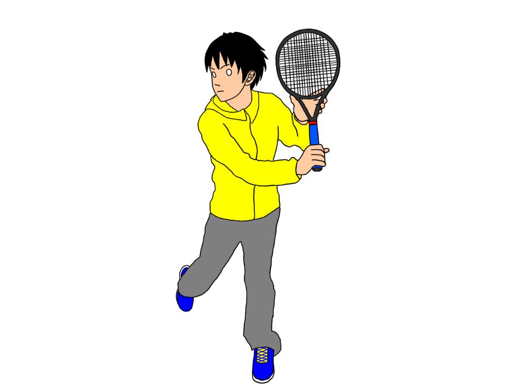 テニスの片手打ちバックハンドストロークで、軸足を引きながら身体をターン