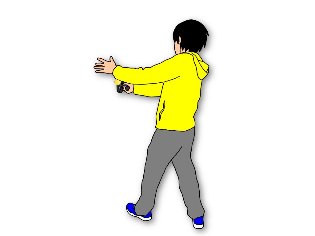 フォアハンドストロークのフォロースルーでラケットをキャッチすると身体の開きを抑えることができる