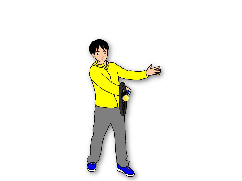 フォアハンドストロークのフォロースルーでラケットをキャッチするとリラックスしてスイングできる