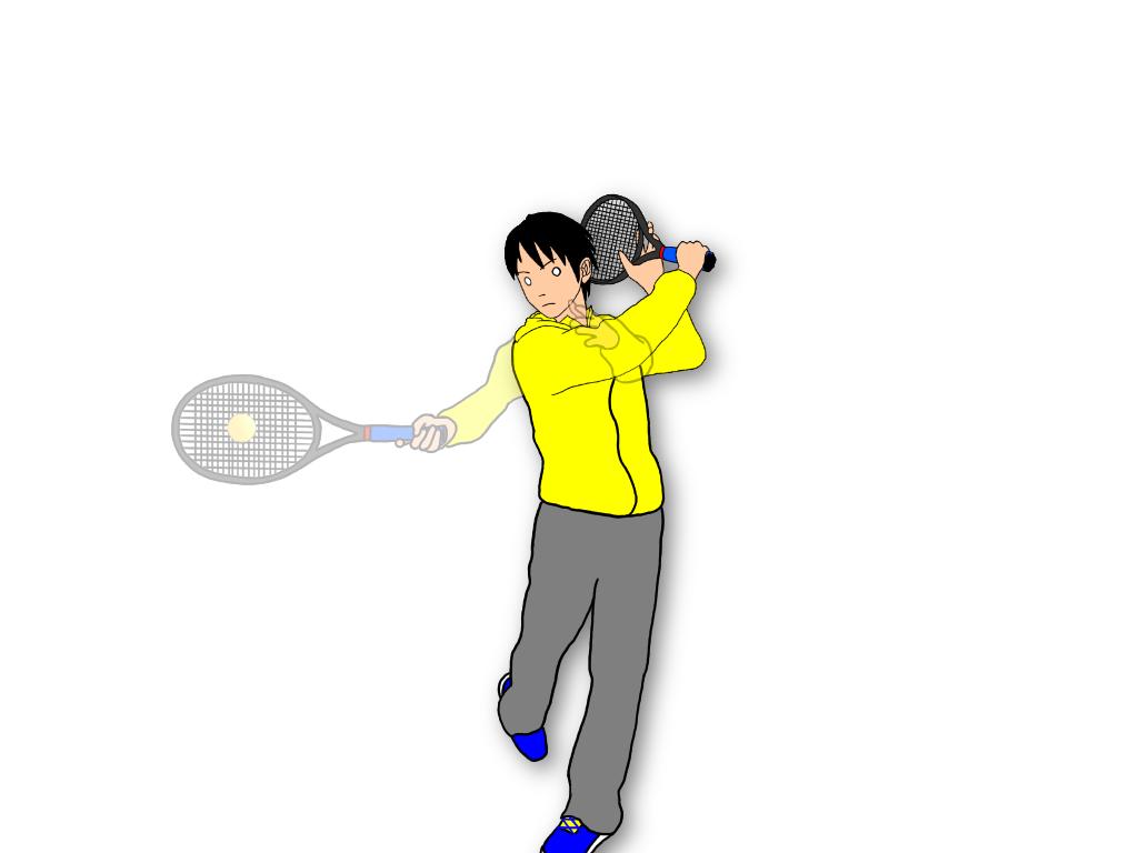 フォアハンドストロークのフォロースルーでラケットをキャッチするとすぐに次のボールに備えて構えることができる