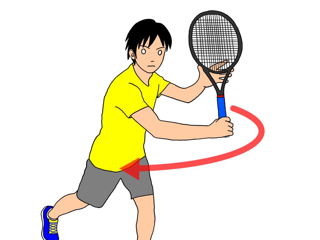 【ネットプレーでのラケットの構え方】バックハンドボレーが片手打ちの場合