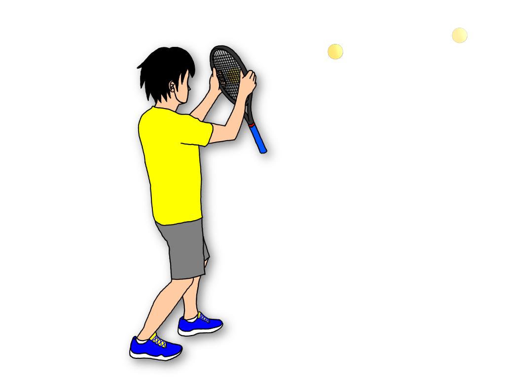 ボールの真後ろにラケットをセットしやすい