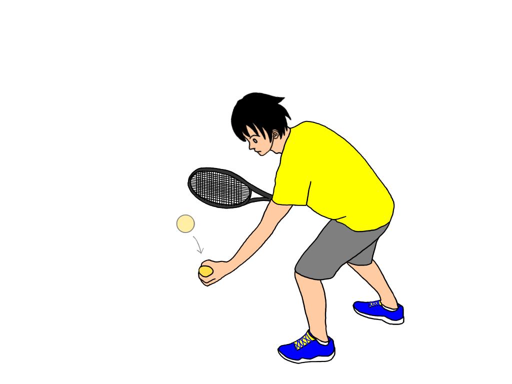ラケットを使ってボールを地面につく