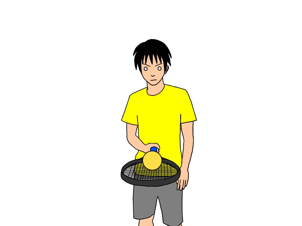 【応用】ラケット表面の上に乗っているボールをフレームの上を通ってラケット裏面に転がす