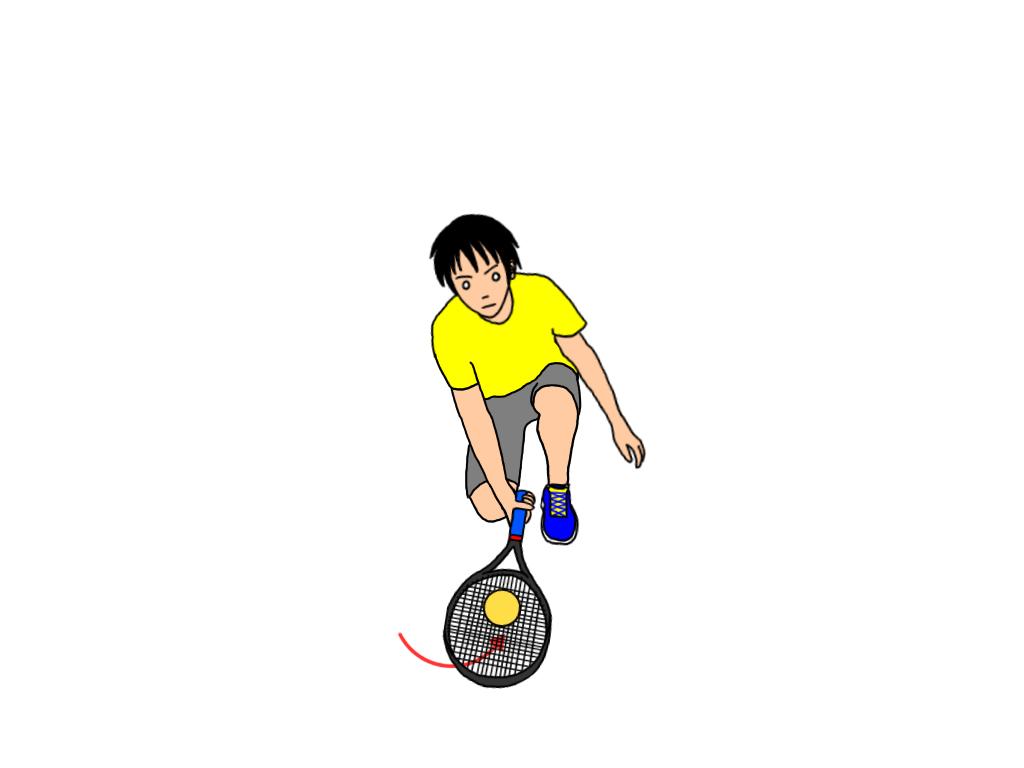 地面に落ちているボールを拾う