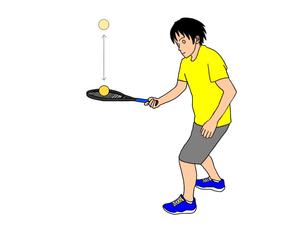 ノーバウンドでボールを下からラケットでつく