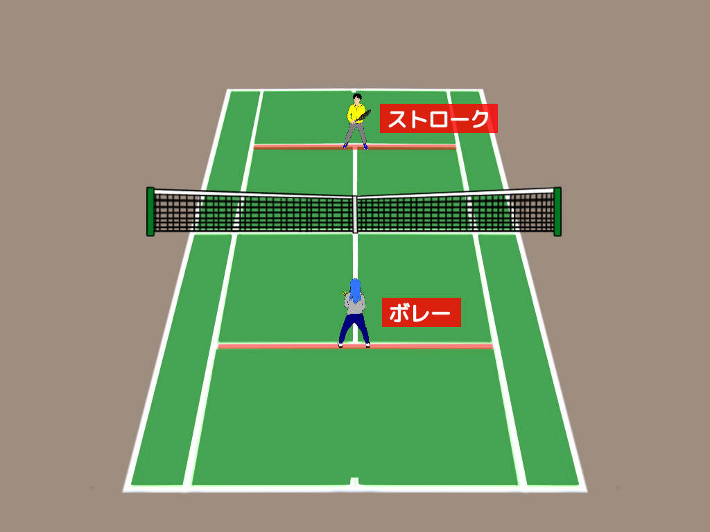 テニスのハーフボレーの応用練習【ボレーかハーフボレーかの判断】