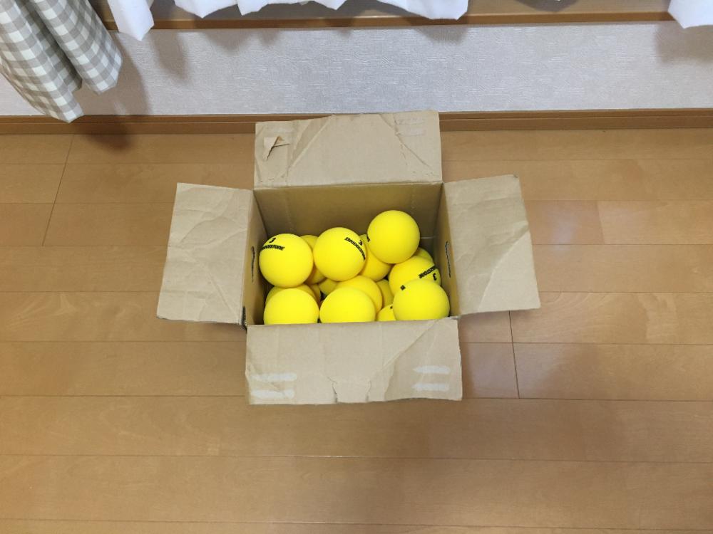 【娘とテニス47日目】ラケットでボールの上をついて床に弾ませてみた